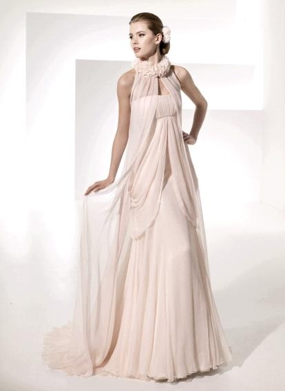 Chic Grecian-inspired light pink 2011 wedding dress by Manual Mota