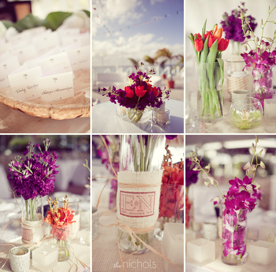 Mix and match pink, purple, red wedding flowers for destination wedding