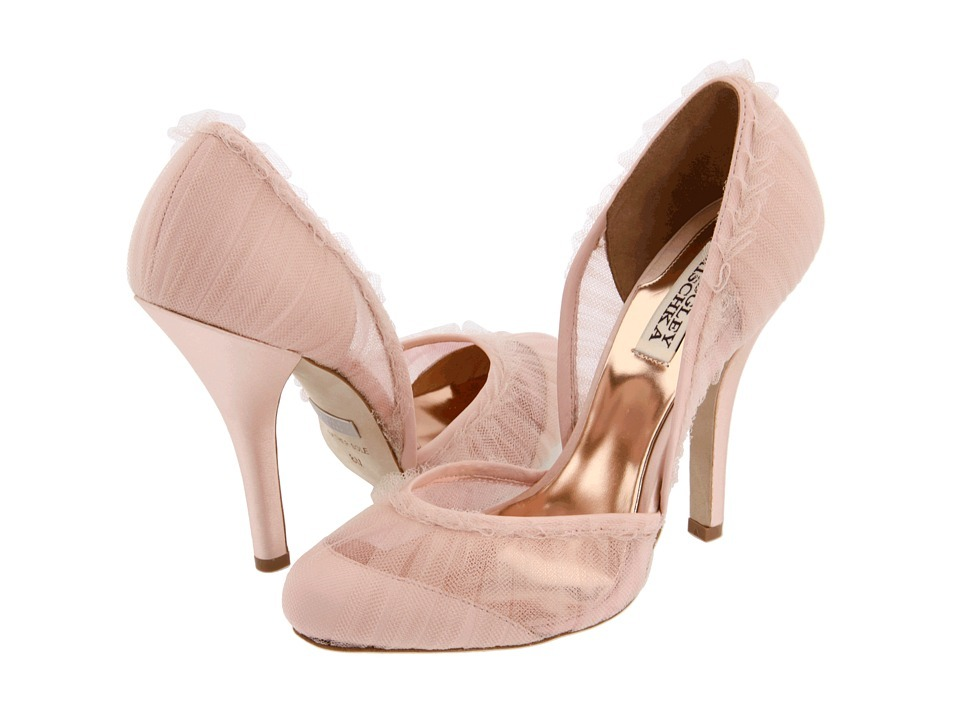 efb9f0b0392c Romantic blush pink bridal heels with sheer lace overlay and ruffled edges