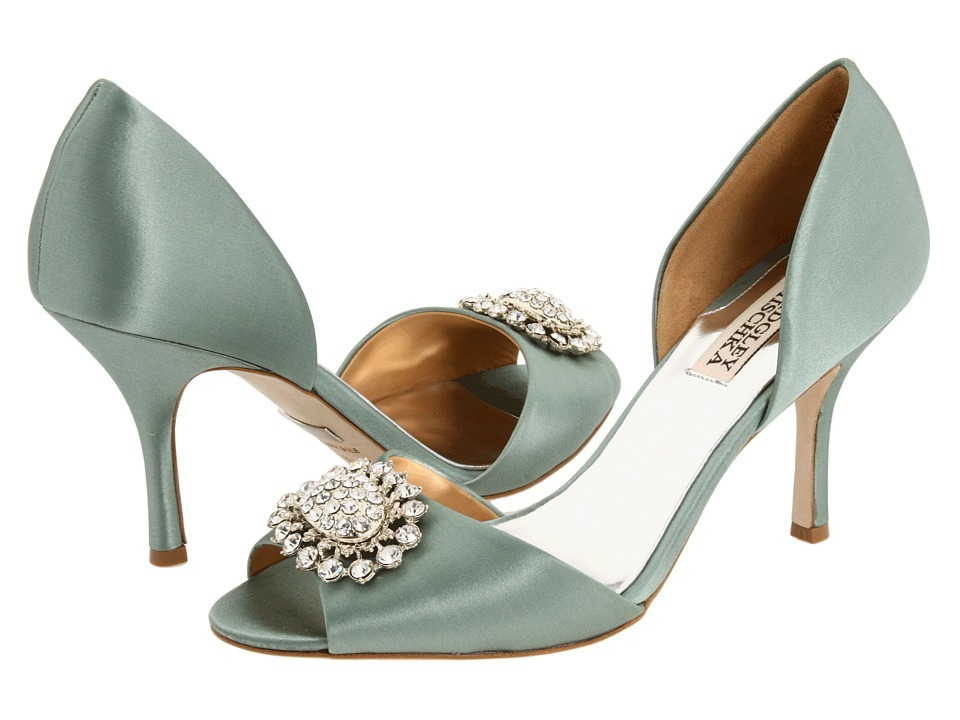 Peep Toe Satin Bridal Heels In Muted Sea Foam Hue With Rhinestone And Pearl  Brooch