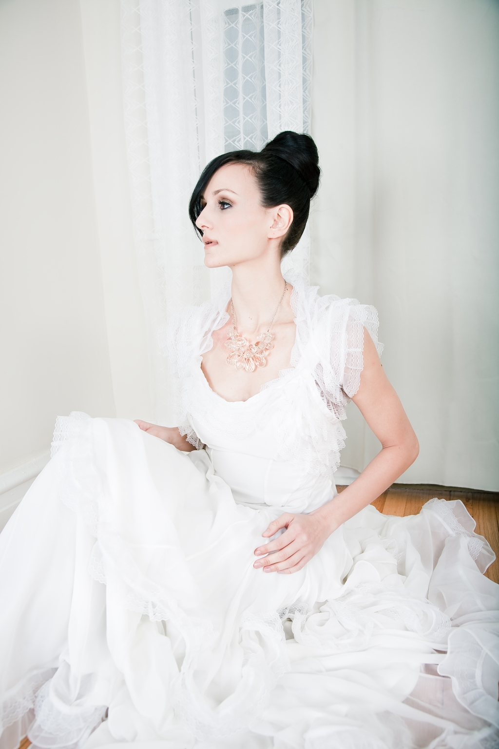 Chic-bridal-hairstyle-all-up-bun-wedding-dress-bolero.full