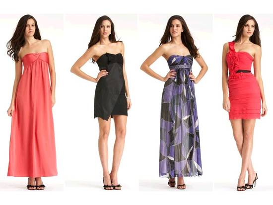 Bright BCBG bridesmaids dresses and classic black cocktail frock