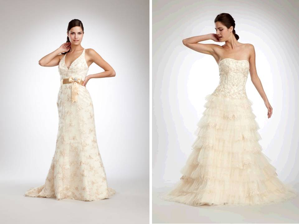 Designer wedding dresses with romantic lace and beading for Designer sample wedding dresses