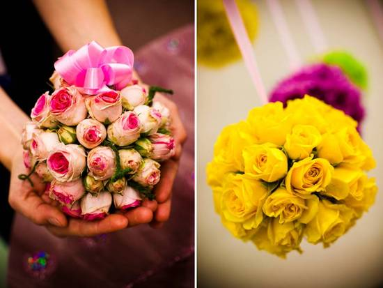 DIY wedding flower idea- floral pomander balls using pink and yellow roses