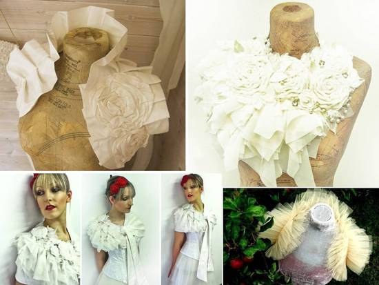 Bespoke bridal boleros and sashes embellished with rhinestones, flowers and pearls