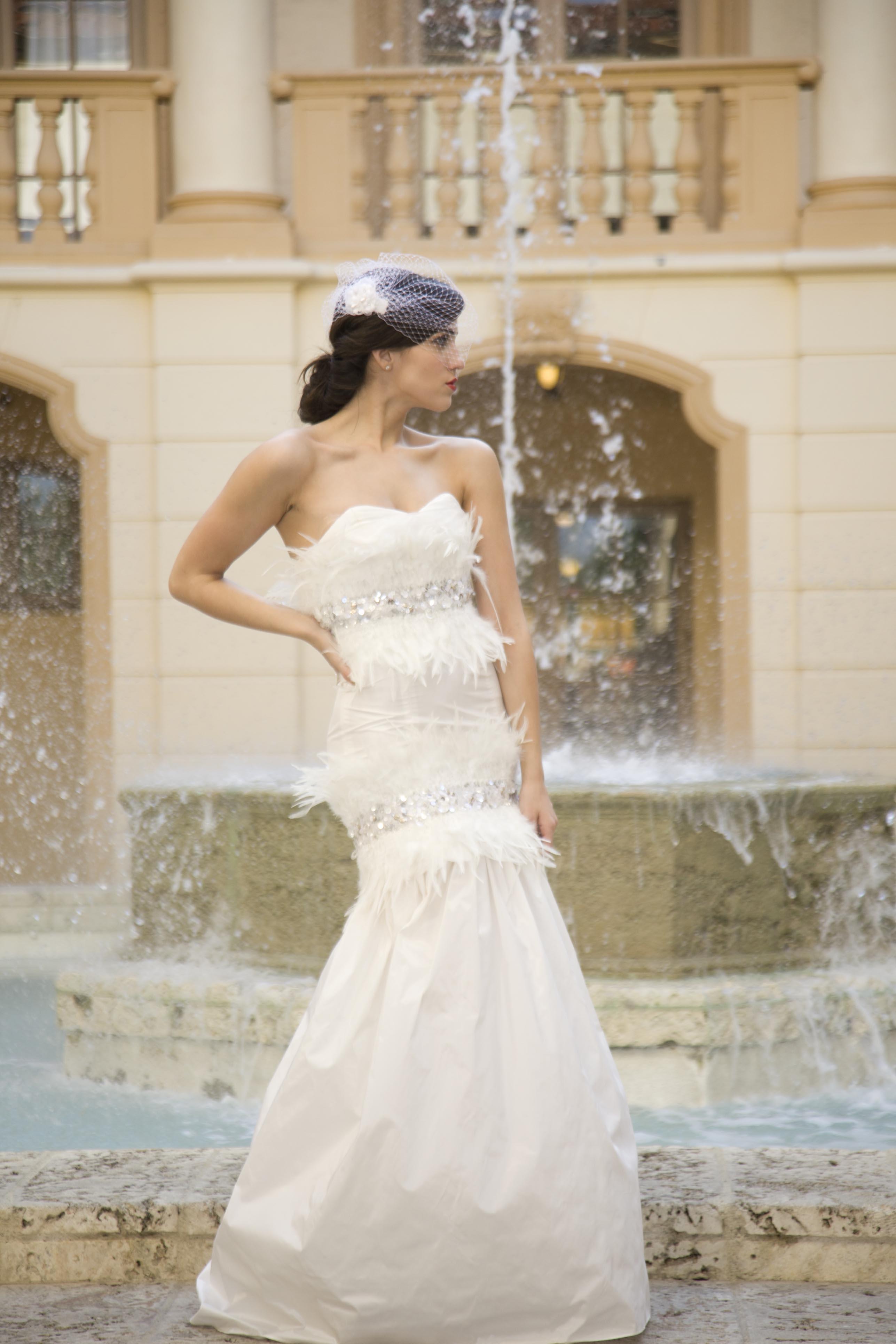 Vintage inspired ivory lace mermaid wedding dress