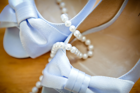 Baby blue shoes and pearls