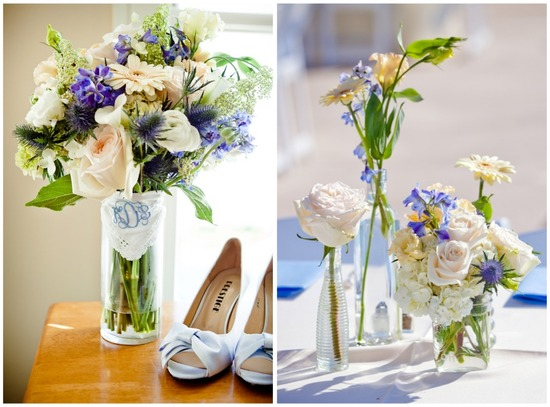 Purple and white southern DIY wedding flowers