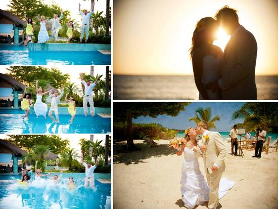Destination wedding in Jamaica- bride, groom and wedding party take the plunge