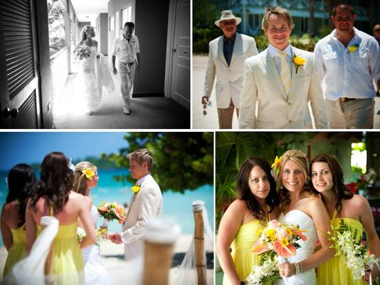 Destination wedding on the beach- bridesmaids wear yellow, flowers in their hair