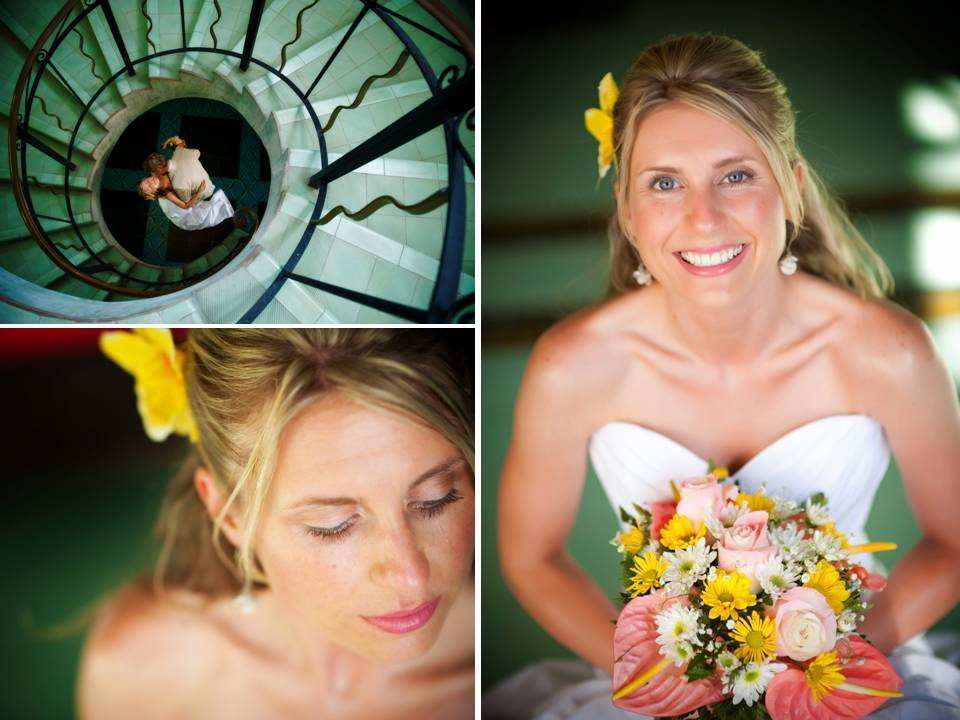 Beach-bride-destination-weddings-white-wedding-dress-colorful-bridal-bouquet.full