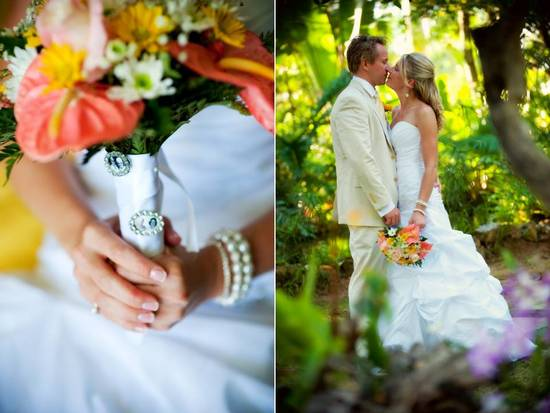 Destination wedding bride and groom kiss in tropical setting