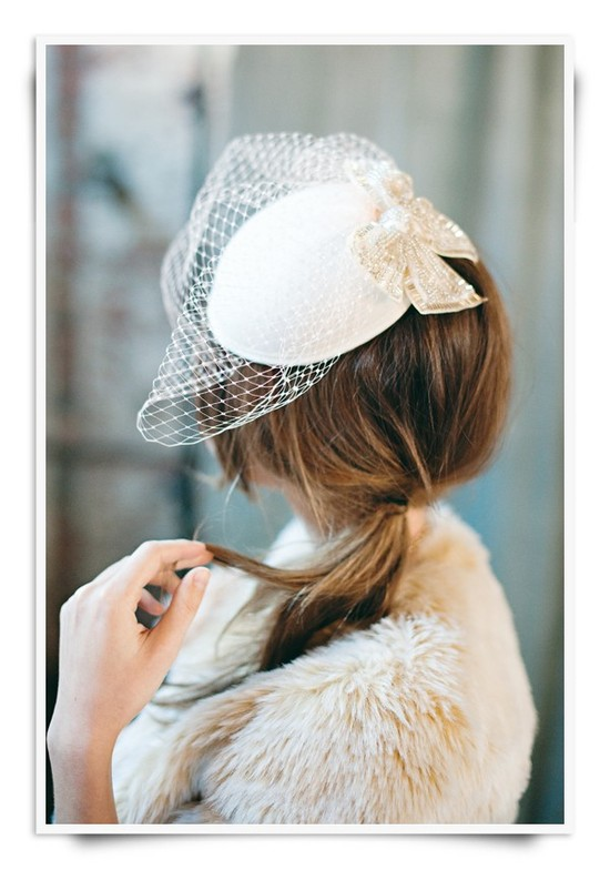 Fancy pillbox cap with bridal blusher in French net