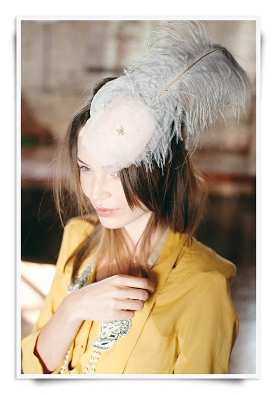 Fancy wedding day party hat with feather