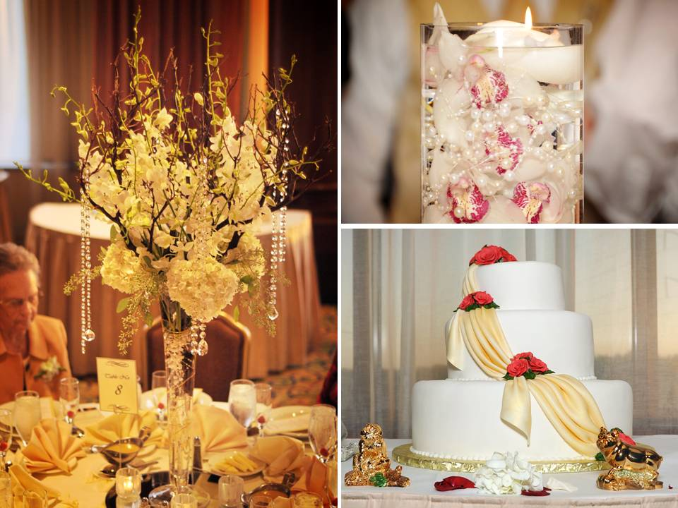 Elegant Fall Wedding Centerpiece Ideas : Ivory wedding flowers and crytals arranged in high