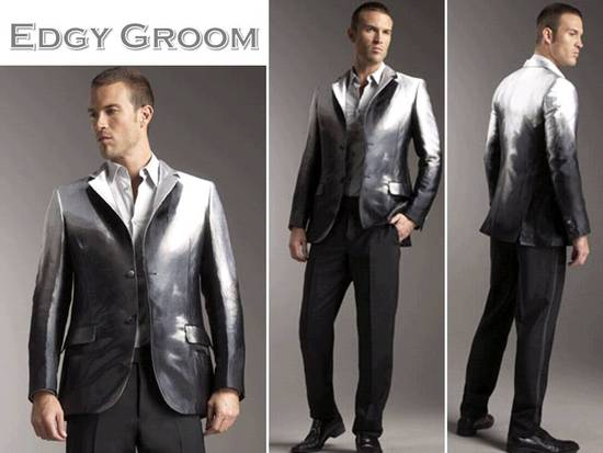 Rock star groom's style- a metallic Alexander McQueen tux jacket