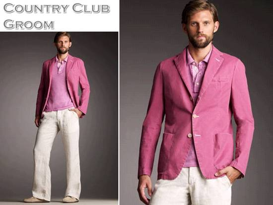 Preppy groom's attire for a casual country club wedding- raspberry pink groom's suit jacket