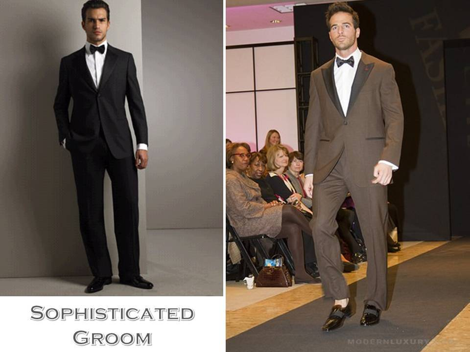 Sophisticated classic groom's attire- black tux, chocolate brown tuxedo
