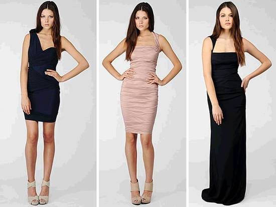 Elegant and modern black Nicole Miller bridesmaids' dresses