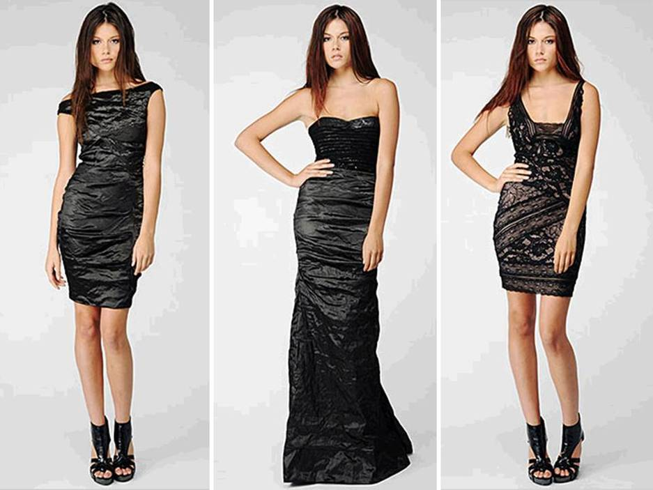 Elegant and modern black Nicole Miller bridesmaids&39 dresses