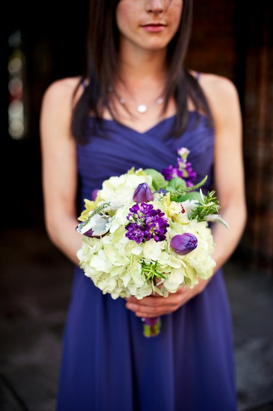Bridesmaid bouquet and purple dress