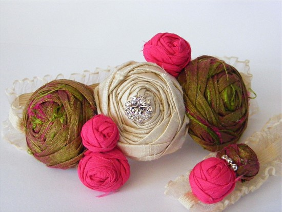 Ivory, hot pink and honeysuckle silk rosette bridal garter set