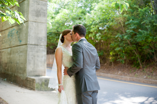 Urban wedding first look kiss