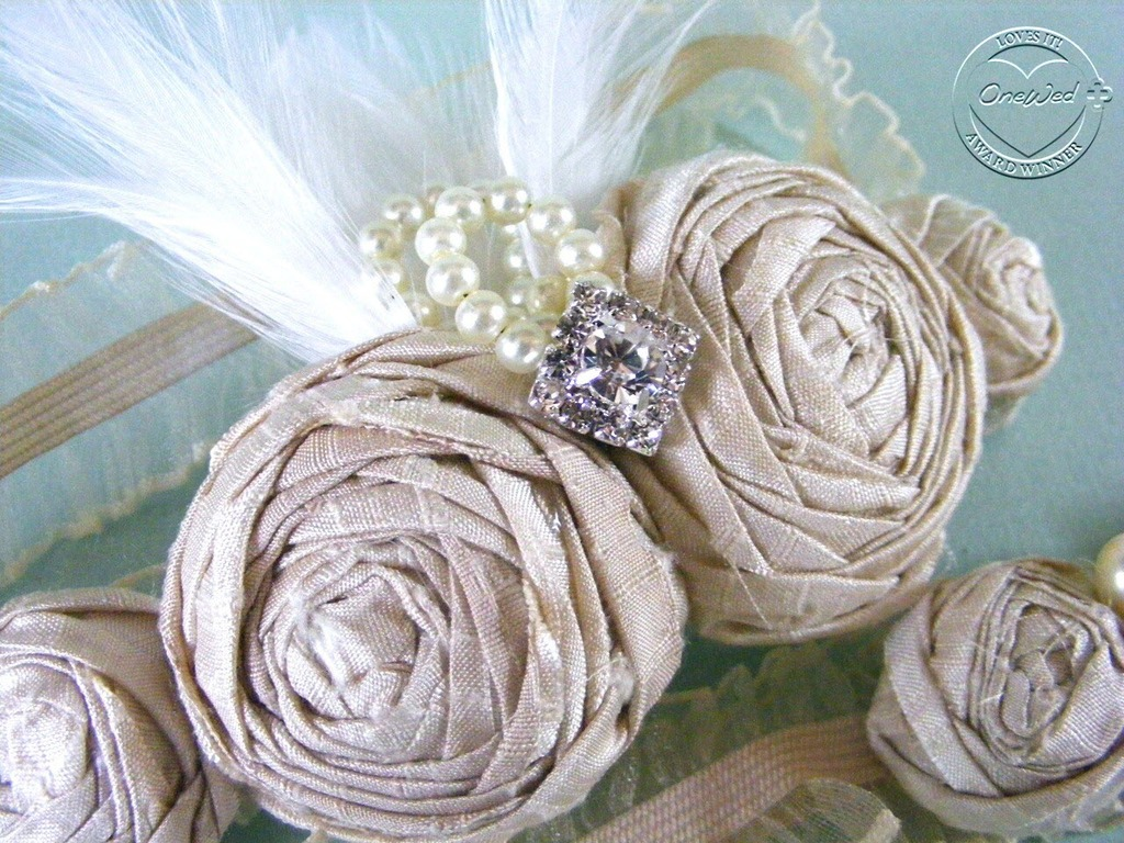 Elegant custom-designed silk rosette bridal garter set- enter to WIN by posting a comment below!