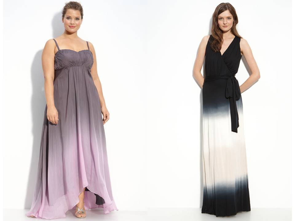 Plus Size Ombre Bridesmaid Dress And Black And White Gown