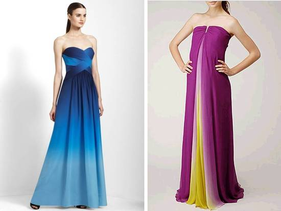 Strapless modified a-line ombre bridesmaids dresses by BCBG and Nicole Miller