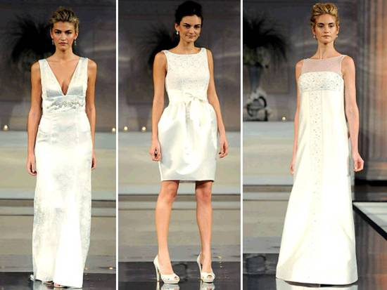 Classic white column and sheath wedding dresses; short wedding reception dress