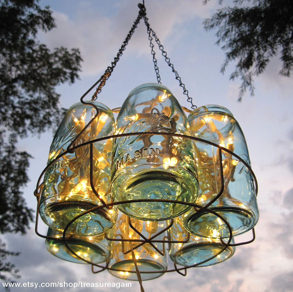 jar chandelier outdoor wedding onewed