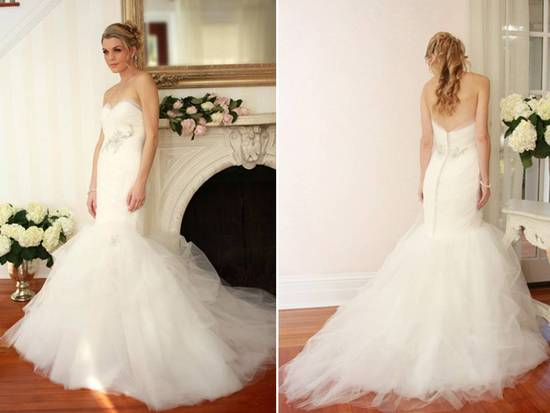 Drop-waist tulle mermaid wedding dress with rhinestone beading