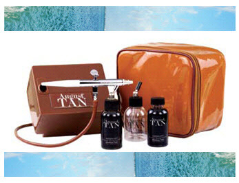 Get a golden glow without ruining your skin! August Tan airbrush tanning system from Stream Cosmetic