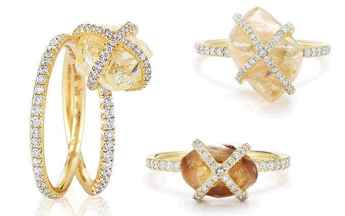 Gorgeous gold, pave diamonds, and rough diamond engagement rings