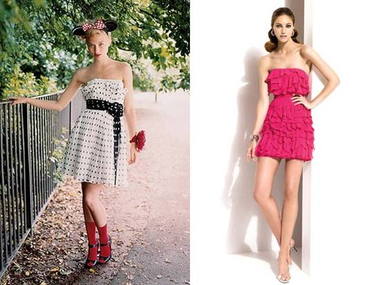Black and white polka dot bridesmaid dress; hot pink strapless ruffled bridesmaid style