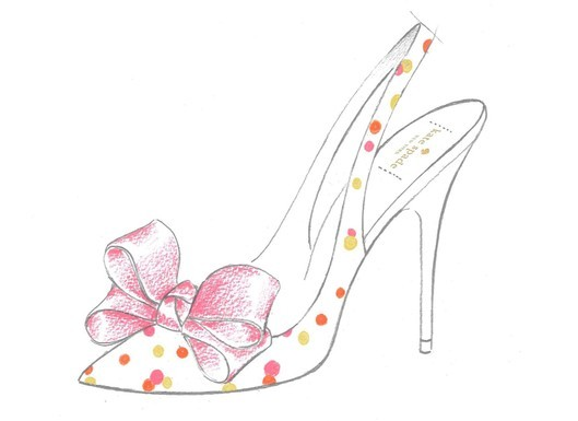 Feminine silk slingback bridal heels with pink bow and polka dot print