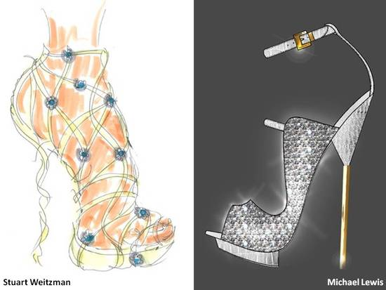 Stuart Weitzman and Michael Lewis sketch bridal heels for Kate Middleton