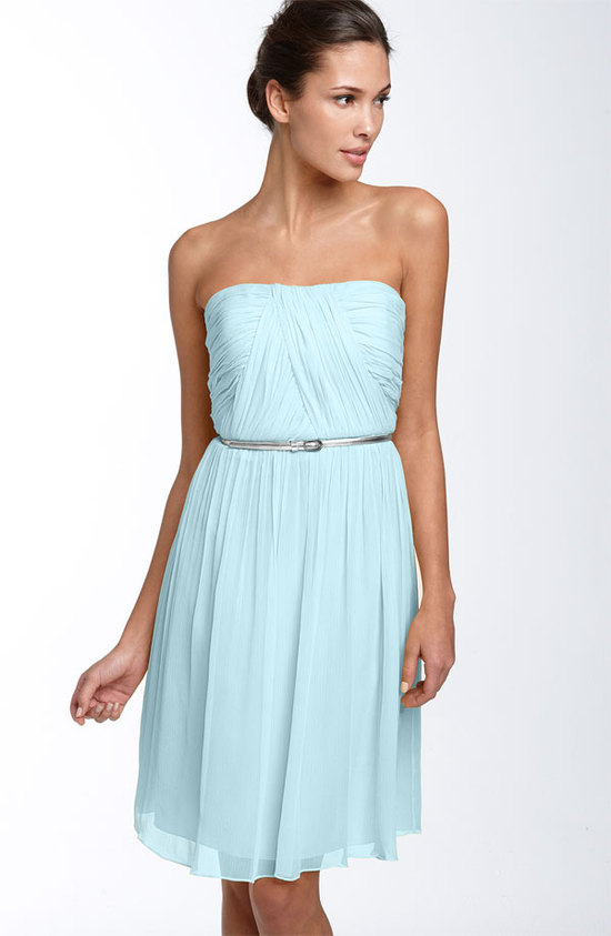 Light aqua chiffon strapless bridesmaid dress with silver skinny belt