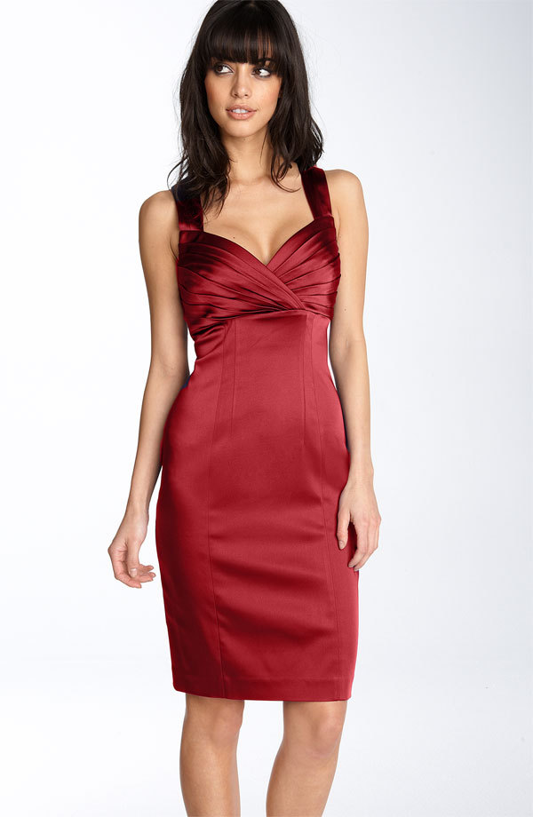 Red satin Calvin Klein bridesmaids dress with sweetheart neckline