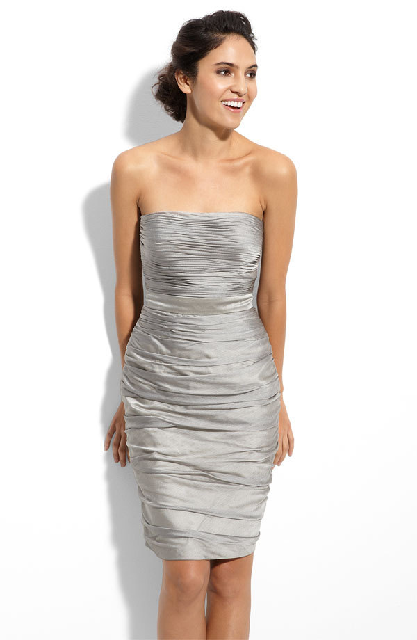 Monique Lhuillier silver strapless bridesmaid dress