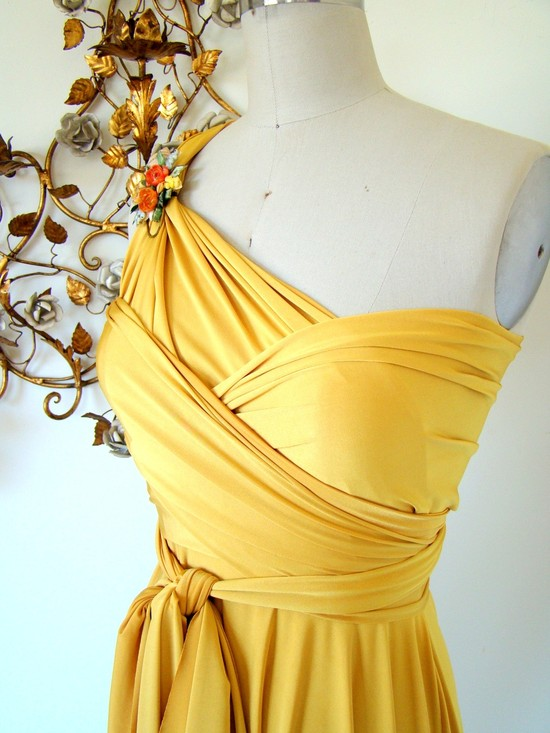 One-shoulder rich yellow silk convertible bridesmaid dress with brooch