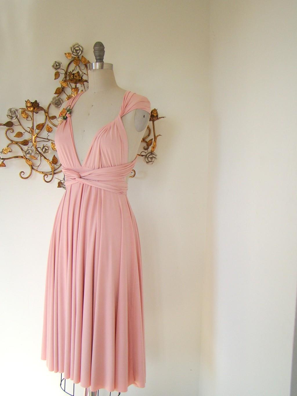 Petal pink convertible silk bridesmaid dress via Etsy