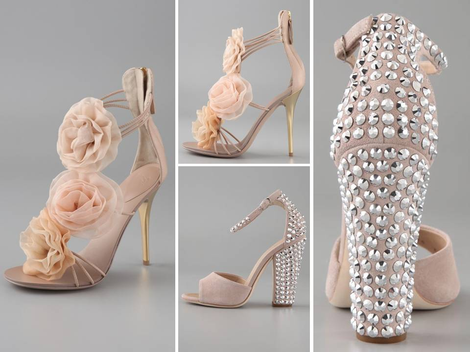 Pink High Heels For Wedding: Romantic Blush Pink Bridal Heels With Flower