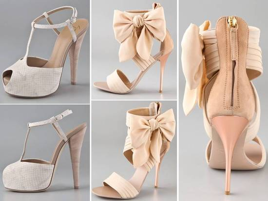 Romantic blush and nude suede bridal heels with peep-toe, platform and romantic bow