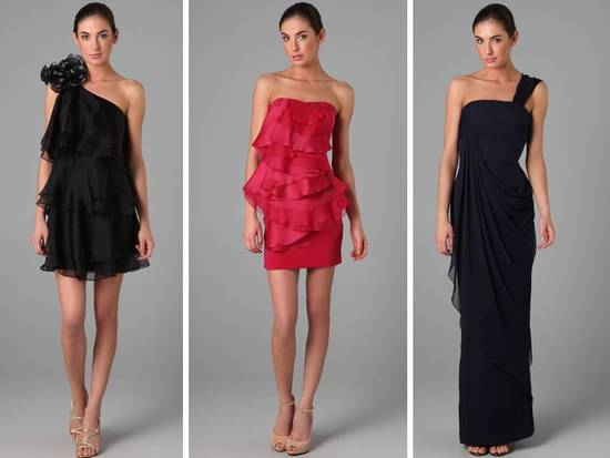 Elegant black and red Notte by Marchesa bridesmaids dresses