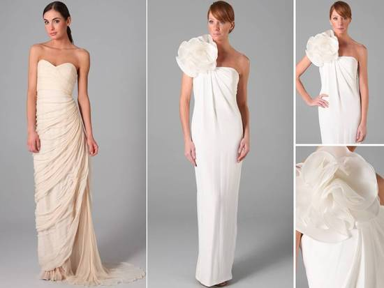 Modern and sleek column wedding dresses featuring sweetheart neckline and large flower applique