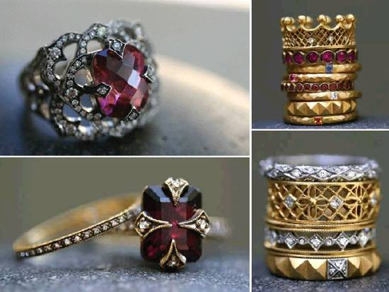 Stunning antique-inspired engagement rings and stackable wedding bands
