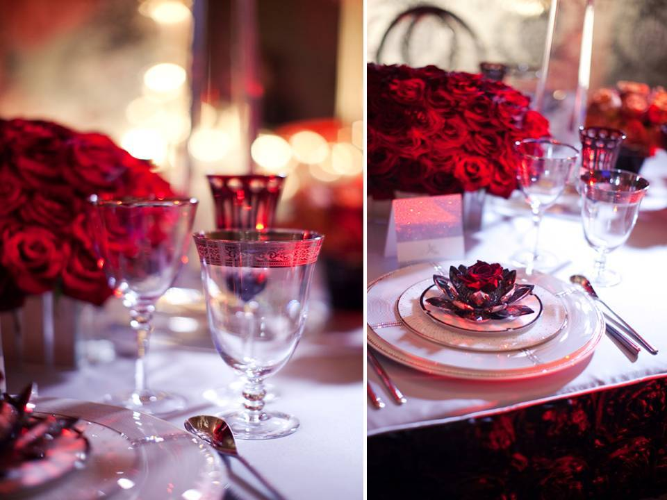 Lush Red Roses Arranged In Silver Lotus Bowl For Wedding Reception