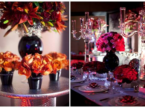 Burnt orange roses in low wedding reception centerpiece; luxe red rose wedding flower arrangements w